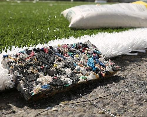 The bottles were treated and used as infill for the synthetic 3G pitch / Adidas