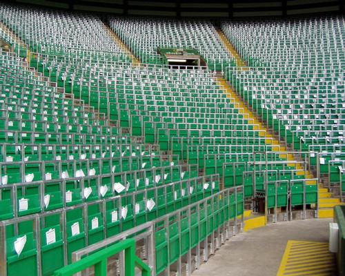 Rail seating is used to provide standing areas in other leagues around Europe –including in Scotland, where Celtic has created one for their fans / Celtic FC