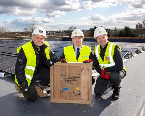 Tom Fletcher Everyone Active's area contract manager (left), councillor Damian White (middle) and Duncan Cogger, regional contract manager, Everyone Active at the topping-out ceremony